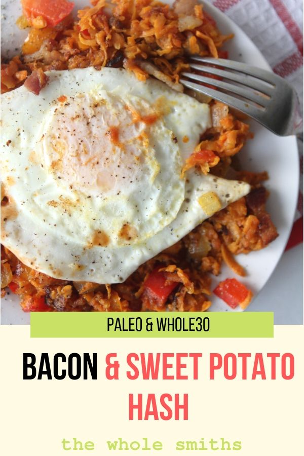 Paleo sweet potato hash pinterest graphic