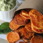 "sweet potato ""chips"" + dip"
