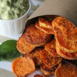 """Perfectly roasted Sweet Potato """"Chips + Dip"""" from The Whole Smiths. So simple and delicious. Great for your Whole30!"""