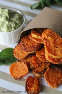 "Perfectly roasted Sweet Potato ""Chips + Dip"" from The Whole Smiths. So simple and delicious. Great for your Whole30!"