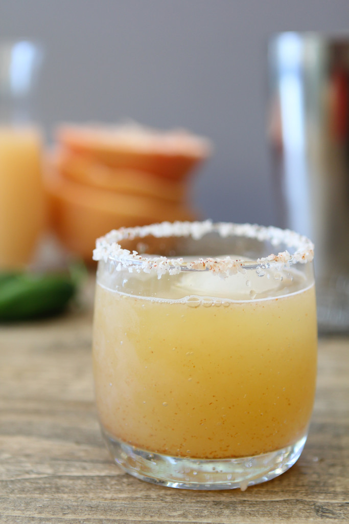 Spicy Honey Grapefruit Margarita from the Whole Smiths. No refined sugars, artificial colors or flavors. A MUST at your next gathering!