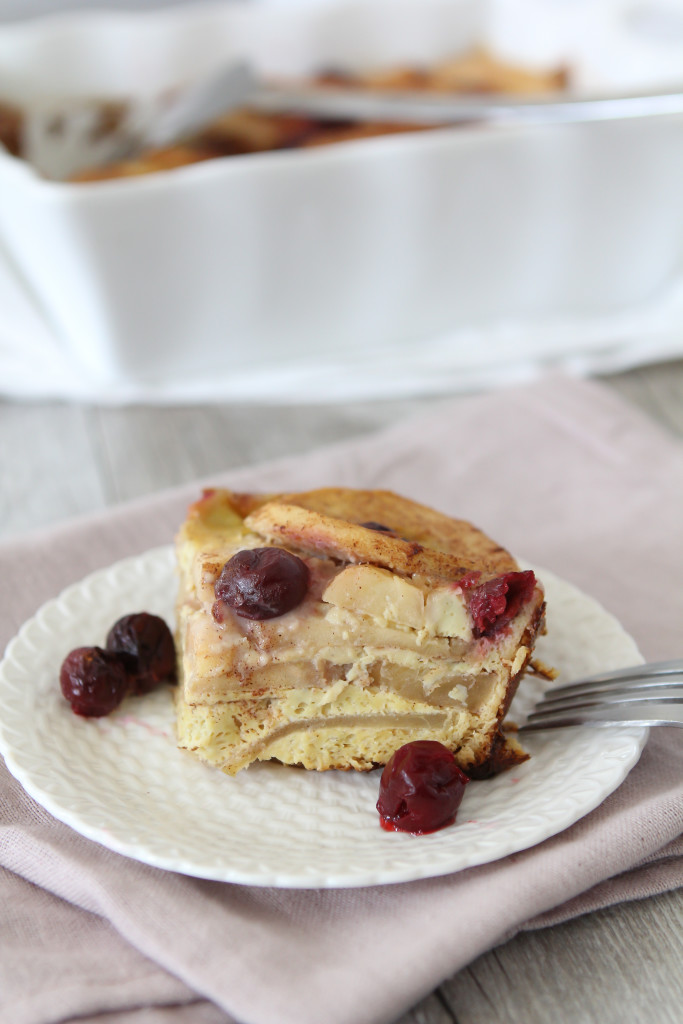 sweet fruit breakfast frittata with apples and cherries