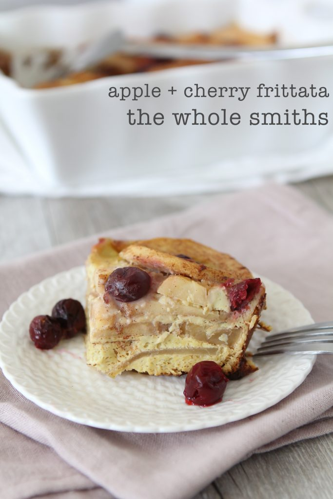 Holy moly this is amazing! Apple + Cherry Frittata from the Whole Smiths. Perfect for breakfast. Paleo-friendly, gluten-free, vegetarian. MUST Pin!