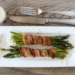 bacon wrapped asparagus + lemon butter sauce