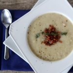 roasted cauliflower soup with bacon + thyme