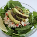 crab salad with roasted avocados