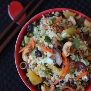 Whole30 Pineapple Fried Rice from the Whole Smiths. A MUST_MAKE on your Whole30. Pin, Pin, Pin! Paleo-friendly and gluten-free.