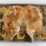 spatchcocked chicken with lemons + olives