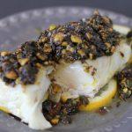 braised halibut + pistachio gremolata