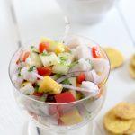 pineapple + mango swordfish ceviche