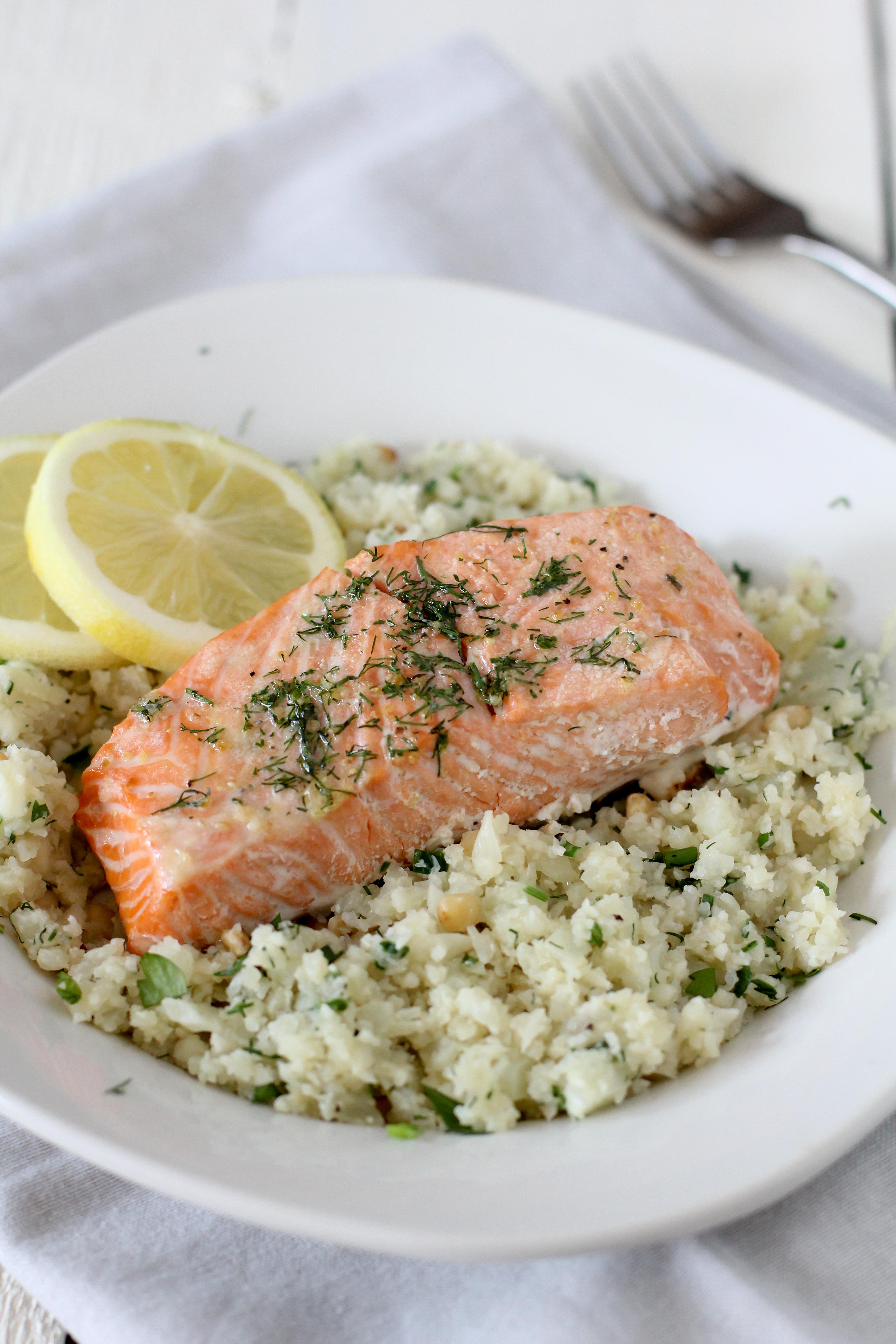 Salmon And Lemon Herb Cauliflower Rice