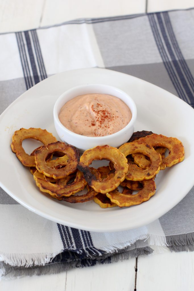 paleo delicata squash roasted chips, awesome dip