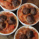spaghetti squash + meatball casserole