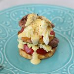 sweet potato breakfast stacks + one-minute hollandaise