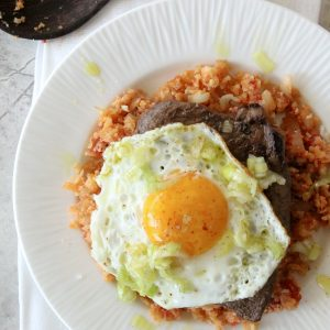 Delicious Steak and Eggs with Tomato Cauliflower Rice courtesy of Sun Basket. Paleo, Whole30 and Gluten Free