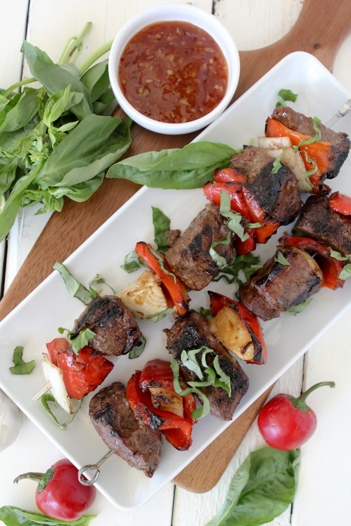 Thai Basil Beef Kebabs from the Whole Smiths. The perfect dish for any BBQ! Gluten-free, paleo friendly and loaded with tons of flavor!
