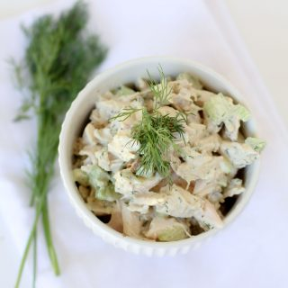 A simple easy-to-make chicken salad that kids and grown ups alike will love. Great for school or work lunches. Paleo, gluten-free and Whole30.