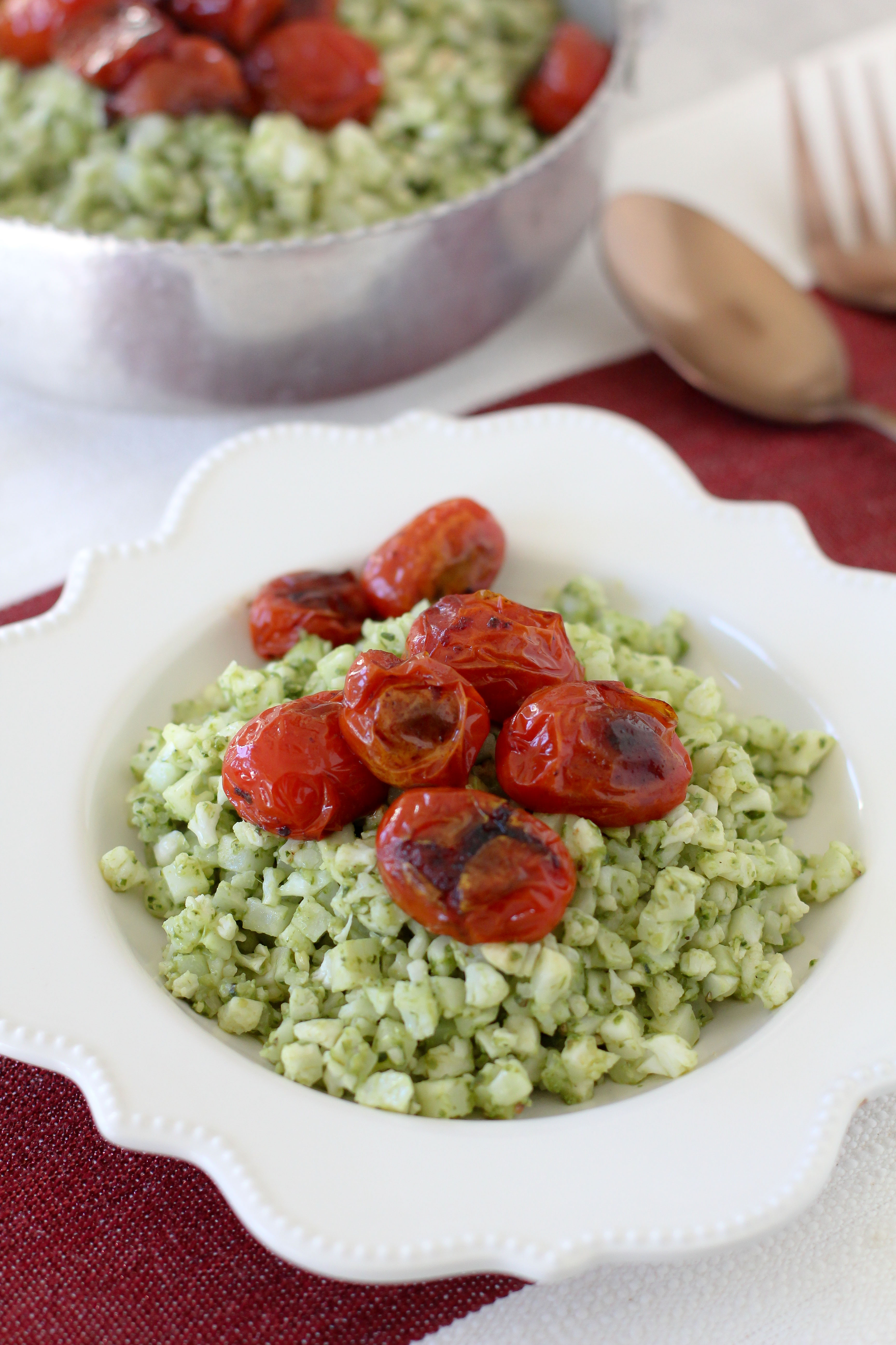 Pesto cauliflower rice blistered tomatoes the whole smiths an easy to make pesto cauliflower rice recipe from the whole smiths paleo forumfinder Gallery