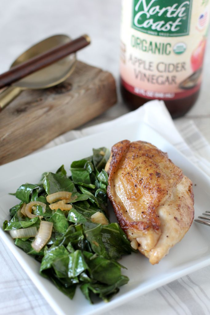 Apple Cider Vinegar Braised Chicken + Collard Greens from the Whole Smiths. It's paleo-friendly, Whole30 compliant, gluten-free and delicious. You'll make this over and over again.