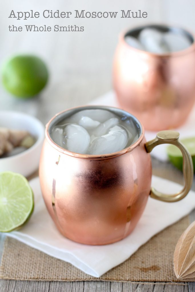 And easy-to-make craft cocktail from the Whole Smiths. This Apple Cider Moscow Mule is made with clean ingredients and will impress all of your friends at your next gathering!