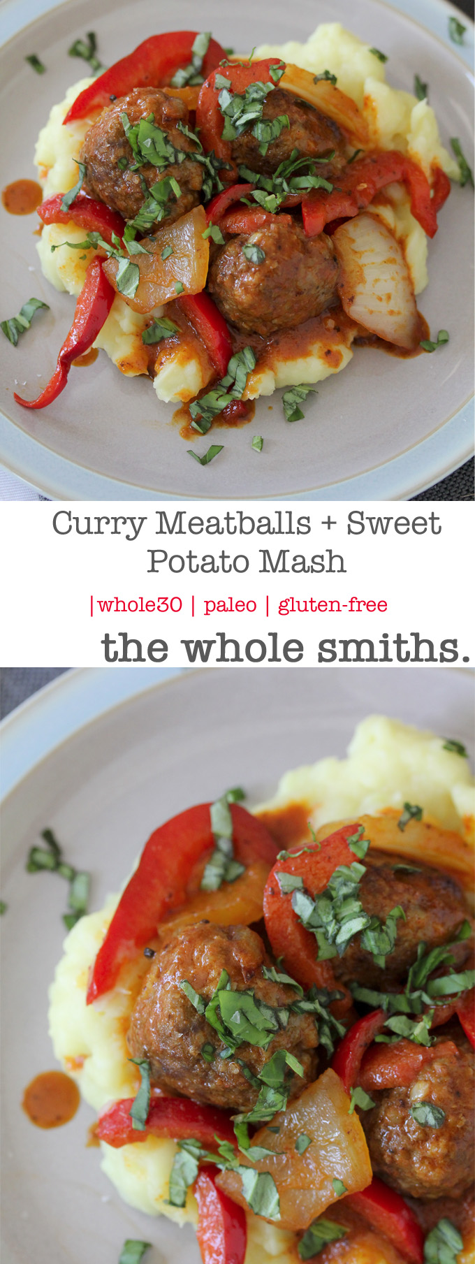 Whole30 compliant Curry Meatballs + Sweet Potato Mash. Paleo and gluten-free.