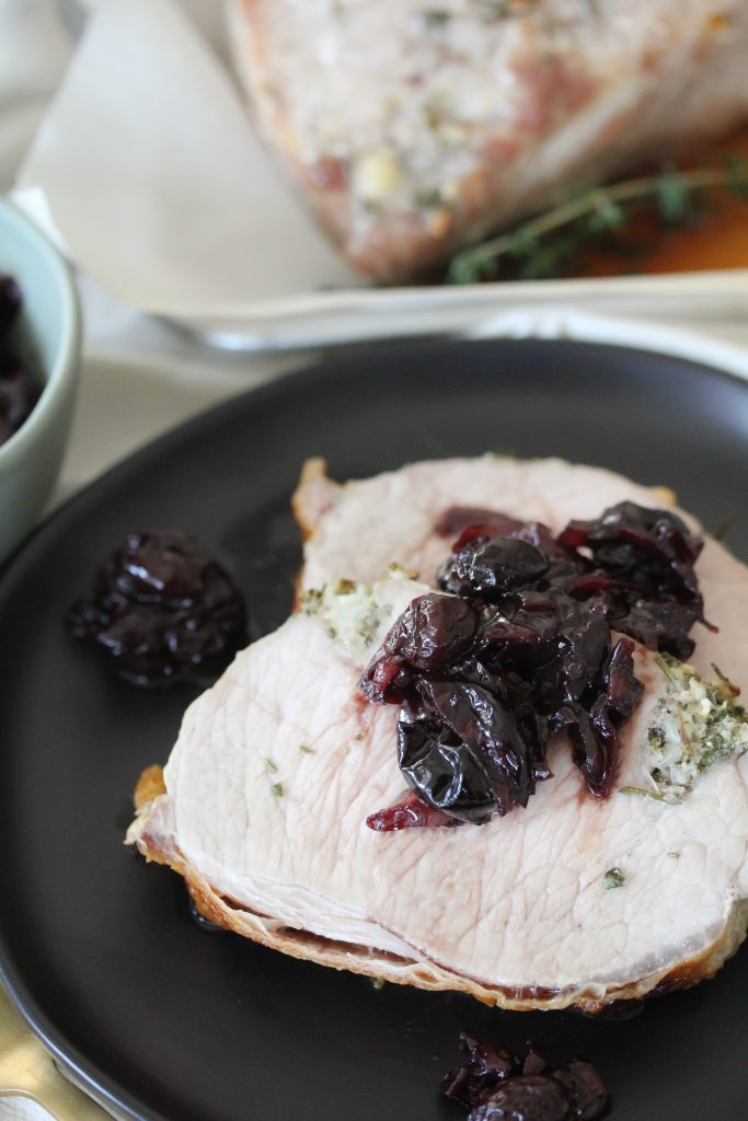 A Whole30 compliant Pork Loin + Cherry Shallot Compote from The Whole Smiths. Whole30, place, gluten-free.