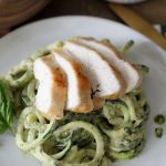 Creamy Pesto Zoodles + Chicken recipe from The Whole Smiths. Not only is this recipe gluten-free and packed with nutrients, it's Whole30 compliant!