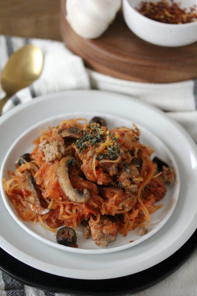 """A Pizza Pasta from The Whole Smiths that's sure to be a hit amongst the entire family. Not only is this """"pasta"""" gluten-free and paleo, it's Whole30 compliant thanks to the spaghetti squash."""