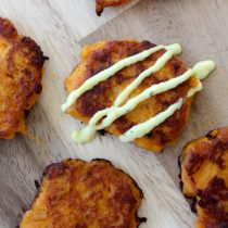 Sweet Potato Fritters + Turmeric Dipping Sauce