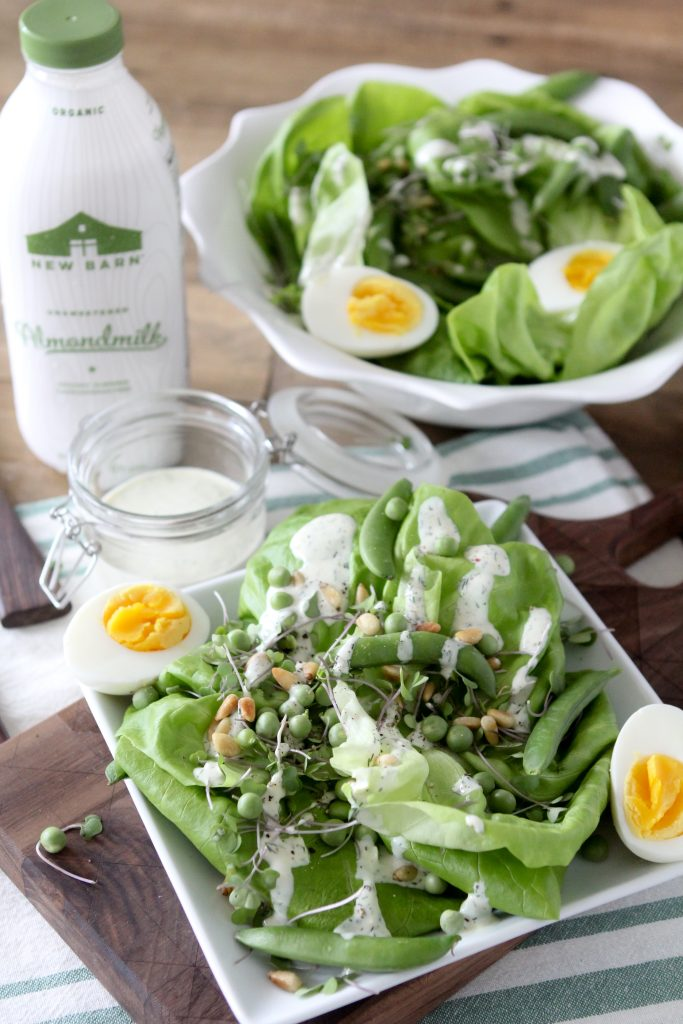 Giant Green Salad with Dill + Cracked Black Pepper Dressing from The Whole Smiths. It's Dairy-Free & Paleo and easy to make Whole30 compliant as well.