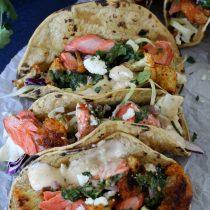 Cilantro Chimichurri Salmon Tacos