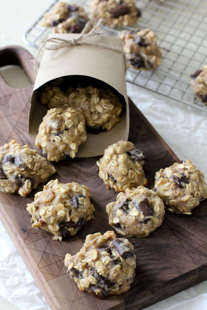 healthy gluten-free breakfast cookies on a wooden chopping board