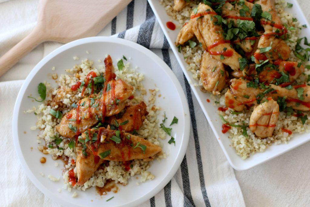 Gluten free sriracha chicken with cauliflower rice