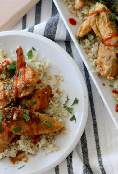 Gluten free sriracha chicken with cauliflower rice