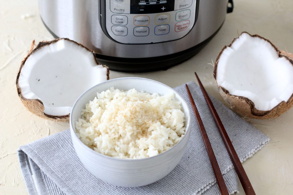 a bowl of coconut rice with an Instant Pot in the background