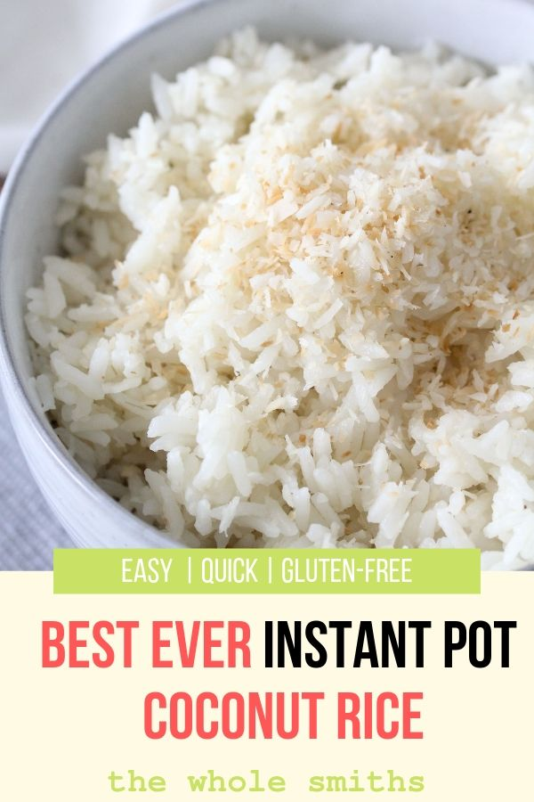 How to make Coconut Rice in an Instant Pot Pinterest Graphic