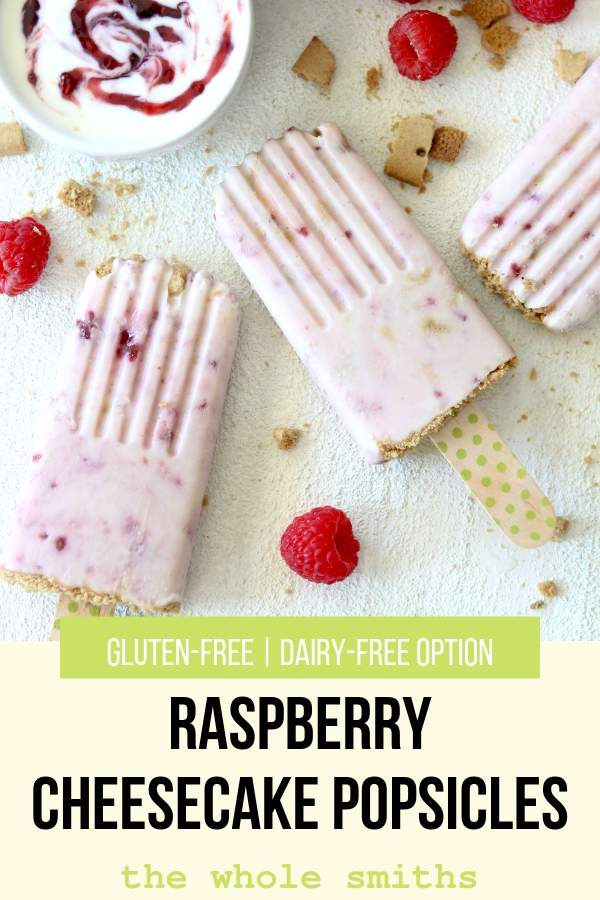 Raspberry Cheesecake Gluten-free Popsicles Pinterest Graphic