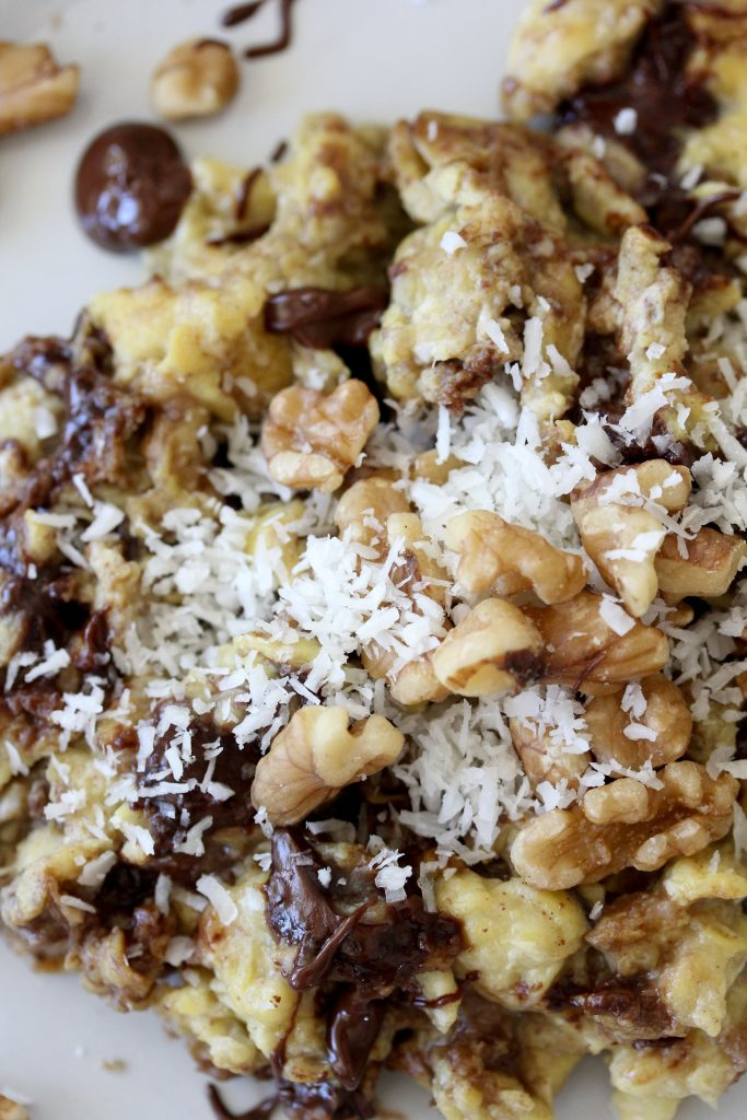 close-up of sweet paleo chocolate banana eggs sprinkled with shredded coconut