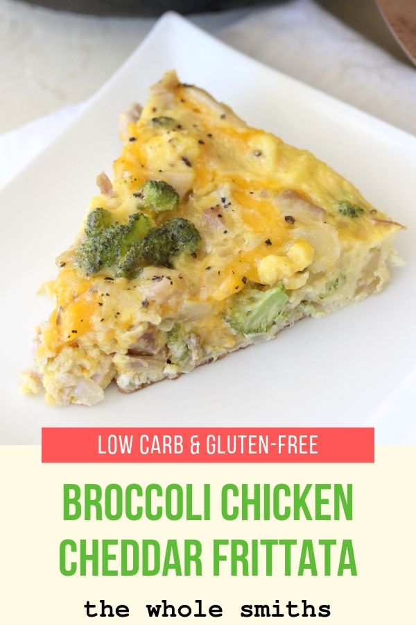 pinterest graphic for healthy frittata with broccoli chicken and cheddar
