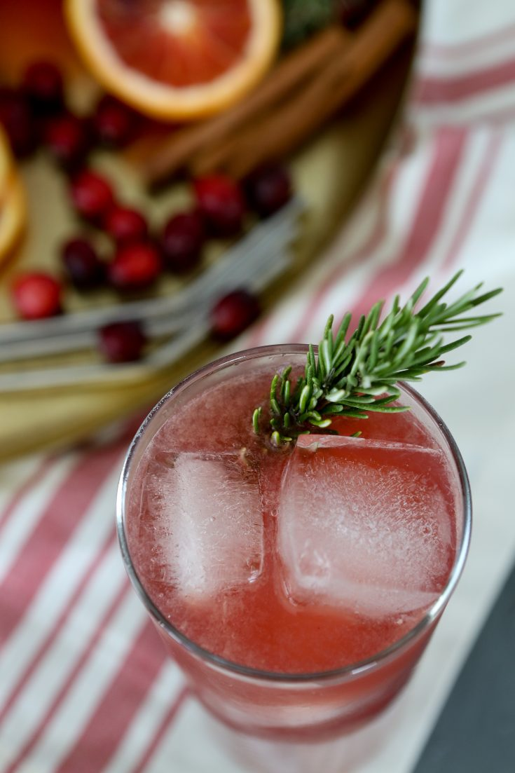 overhead shot of a glass of Cranberry Thanksgiving Punch with a twig of rosemary