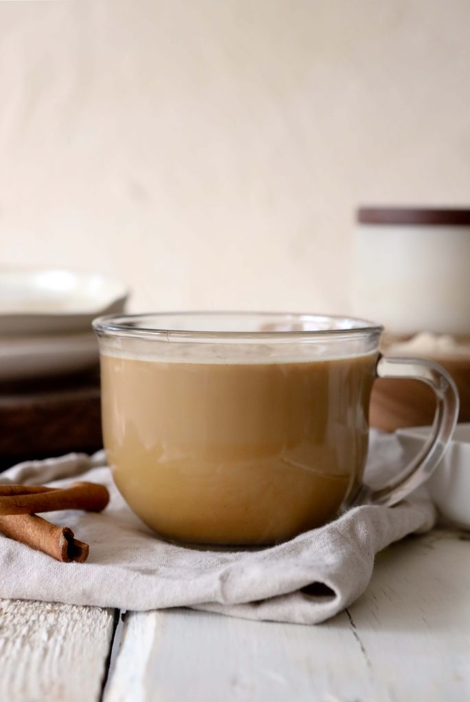 side view of pumpkin spice chai latte with maca and ashwagandha