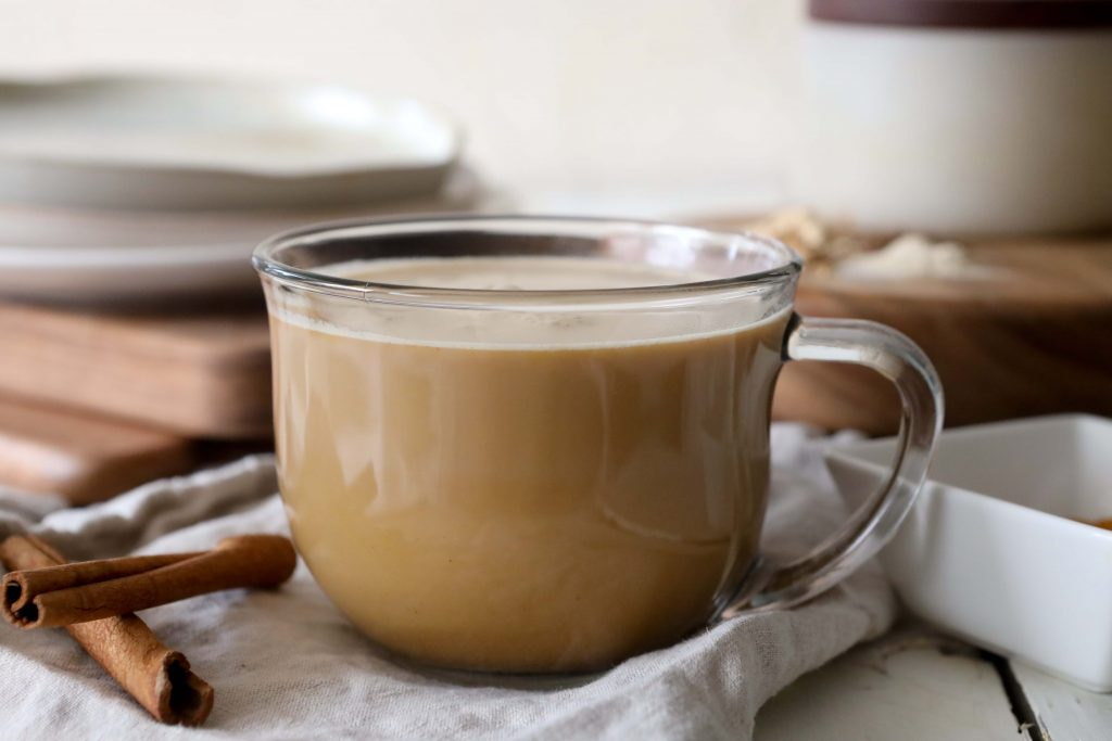 a mug of dairy-free pumpkin spice latte with added adaptogens