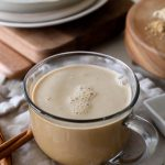 pumpkin chai latte with adaptogens on a breakfast table