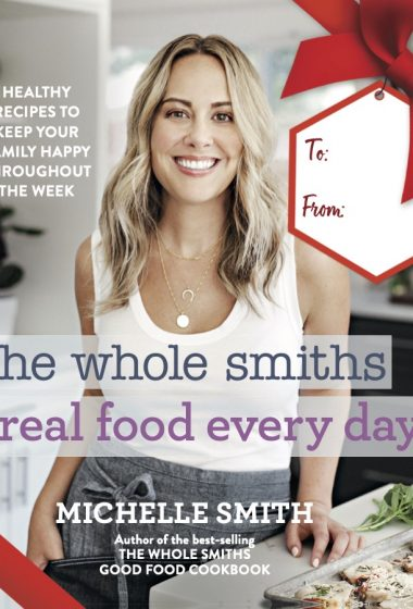 real food every day book cover with red holiday bow