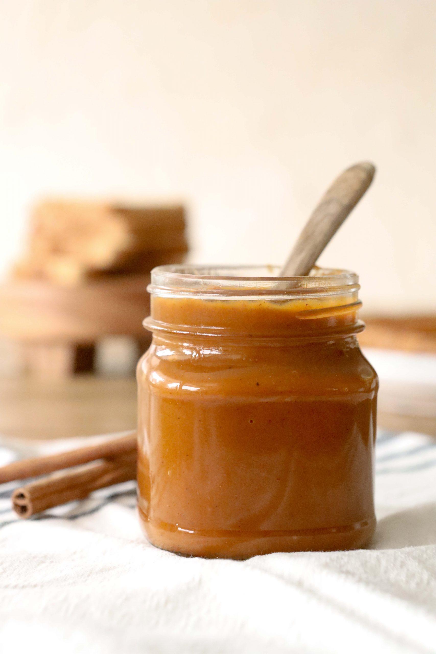 Jar of pumpkin butter made in the instant pot